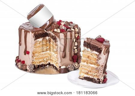 Chocolate cake made from raspberry and sweets. In the section is a piece.