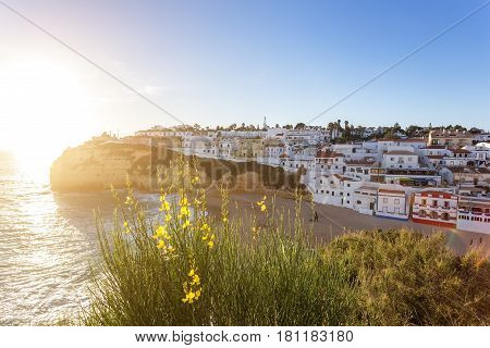 Spring flowers in the background of the town of Carvoeiro. Portugal