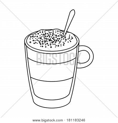 A cup of latte.Different types of coffee single icon in outline style vector symbol stock illustration .