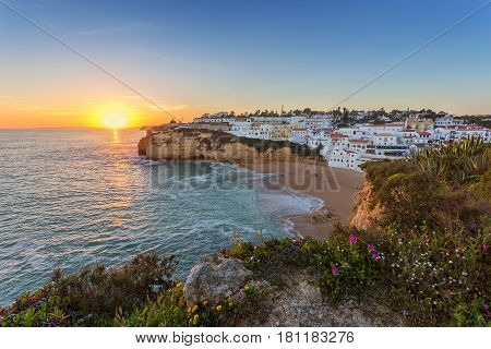 Wonderful seascape of Carvoeiro at sunset. Portugal algarve