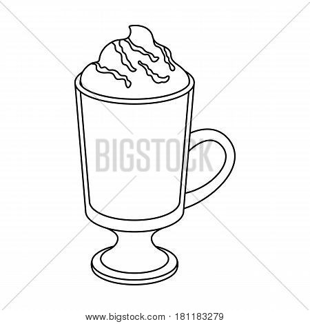 A cup of mocha with foam.Different types of coffee single icon in outline style vector symbol stock illustration .