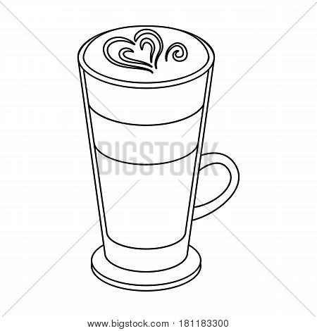 Cup of coffee macchiato with foam. Different types of coffee single icon in outline style vector symbol stock illustration .