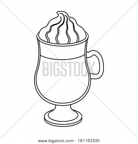 Cup of Irish coffee.Different types of coffee single icon in outline style vector symbol stock illustration .
