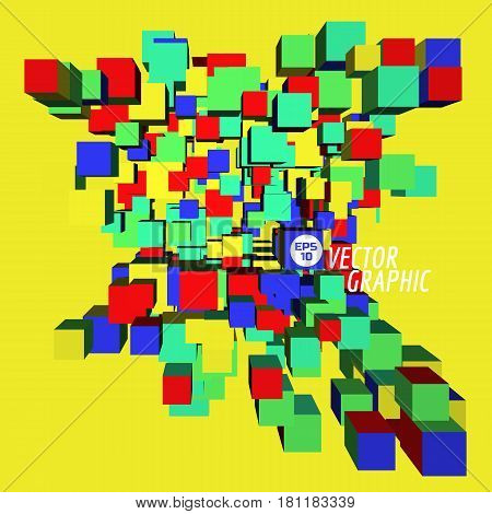Abstract cubic architecture plan. City up view. Abstract background. Vector illustration