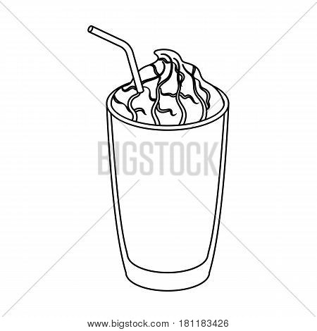 A glass of frappe.Different types of coffee single icon in outline style vector symbol stock illustration .