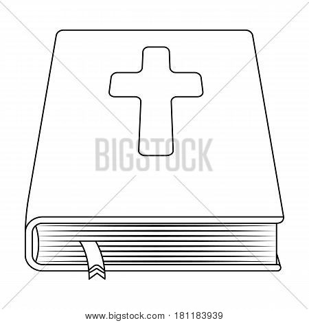 Book with a cross on the cover. The Bible. Easter single icon in outline style vector symbol stock web illustration.