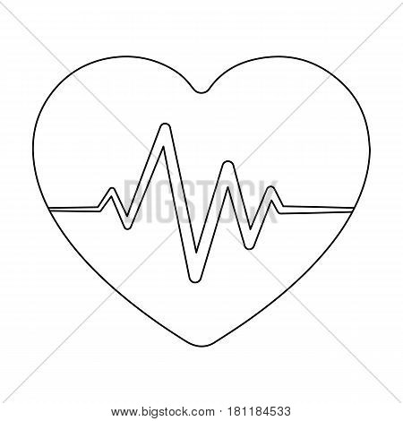 Red heart with pulse.The heart rate of the athlete .Gym And Workout single icon in outline style vector symbol stock web illustration.