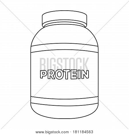 The Bank labeled protein. Sports supplements in nutrition for muscle growth.Gym And Workout single icon in outline style vector symbol stock web illustration.