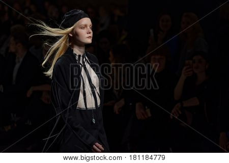 ST. PETERSBURG, RUSSIA - APRIL 1, 2017: Collection of Ianis Chamalidy at the fashion show during Mercedes-Benz Fashion Day St. Petersburg. It is one of the most popular fashion events of the city