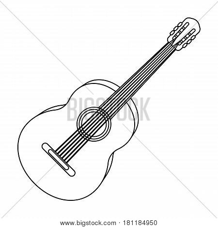 Yellow guitar.Hippy single icon in outline style vector symbol stock illustration .