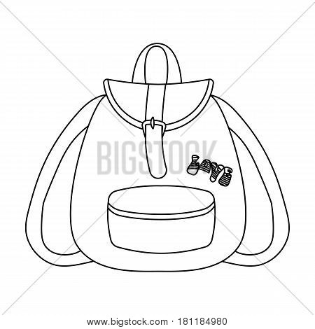 Green hippy backpack.Hippy single icon in outline style vector symbol stock illustration .