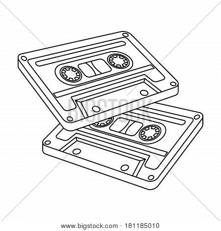 Cassettes for tape recorder.Hippy single icon in outline style vector symbol stock illustration .