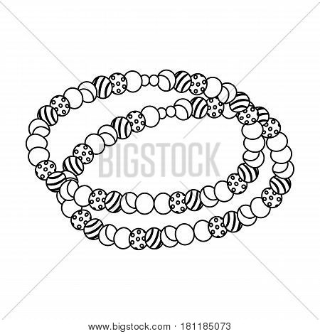 Colored beads.Hippy single icon in outline style vector symbol stock illustration .