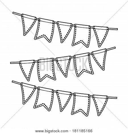 Festive colorful ribbons.Party and parties single icon in outline style vector symbol stock web illustration.