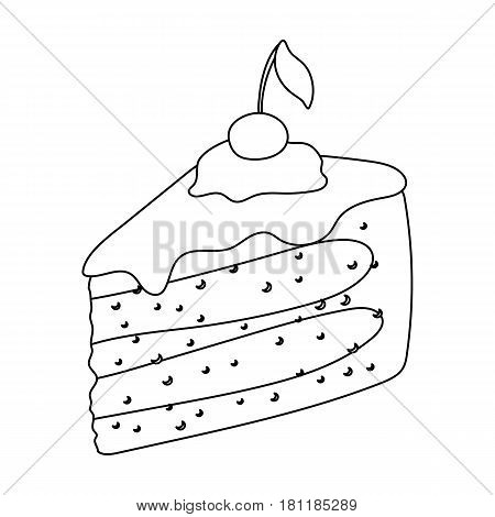 Sweet cake with cherry and leaf.Party and parties single icon in outline style vector symbol stock web illustration.