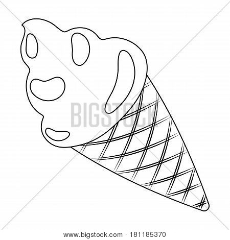 Pink ice cream in a waffle cup.Party and parties single icon in outline style vector symbol stock web illustration.