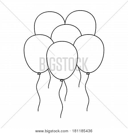 Multicolored inable balls.Party and parties single icon in outline style vector symbol stock web illustration.