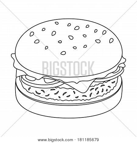 Burger with cutlet and slabom. Bar food with beer. Pub single icon in outline style vector symbol stock web illustration.