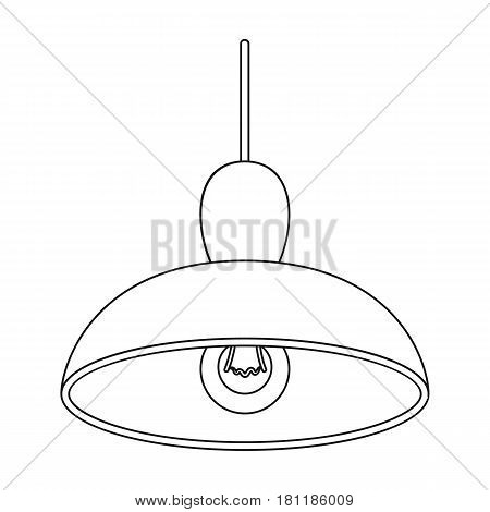 Chandelier with light bulb. The light in the bar. Pub single icon in outline style vector symbol stock web illustration.