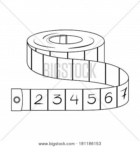 Red Roulette Seamstresses.Sewing or tailoring tools kit single icon in outline style vector symbol stock web illustration.