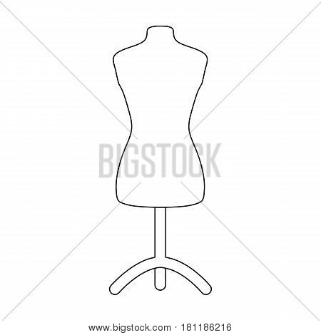 Plastic dummy on the stand.Sewing or tailoring tools kit single icon in outline style vector symbol stock web illustration.