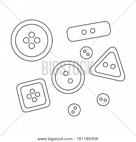 Buttons for clothes.Sewing or tailoring tools kit single icon in outline style vector symbol stock web illustration.