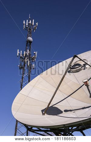 Telecommunications and Wireless Equipment Tower with Directional Mobile Phone Antenna and Satellite Dish V