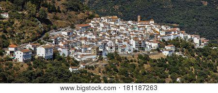 Algatocin white village panoramic view Andalusia Spain Europe.