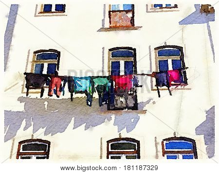 Digital watercolor of washing hanging out to dry on a clothesline on a sunny day in Lisbon Portugal. With space for text.