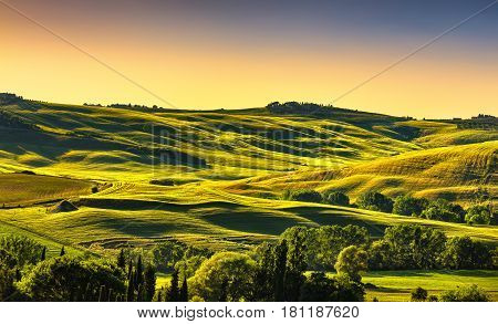 Tuscany countryside landscape panorama rolling hills fields meadow and trees at sunset. Italy Europe