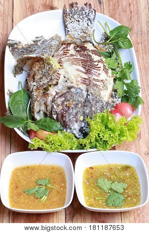 Grilled Tilapia Fish with Salt of thai foods in Popular in Thailand.