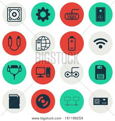 Set Of 16 Computer Hardware Icons. Includes Internet Network, Battery, Connected Devices And Other Symbols. Beautiful Design Elements.
