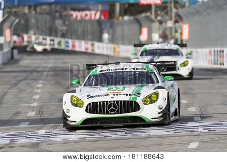 April 07, 2017 - Long Beach, California, USA:  The Riley Motorsport Mercedes races through the turns at the Bubba Burger Sports Car Grand Prix At Long Beach in Long Beach, California.