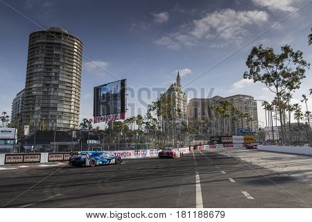April 07, 2017 - Long Beach, California, USA:  The VisitFlorida Racing Multimatic/Riley car races through the turns at the Bubba Burger Sports Car Grand Prix At Long Beach in Long Beach, California.