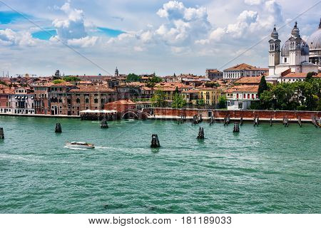 Coastline and European city of Venice Italy