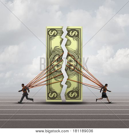 Equal pay concept and gender wage gap symbol as a man and woman pulling apart a generic dollar as a financial compensation metaphor for equality in the workplace or prenuptual agreement with 3D illustration elements.
