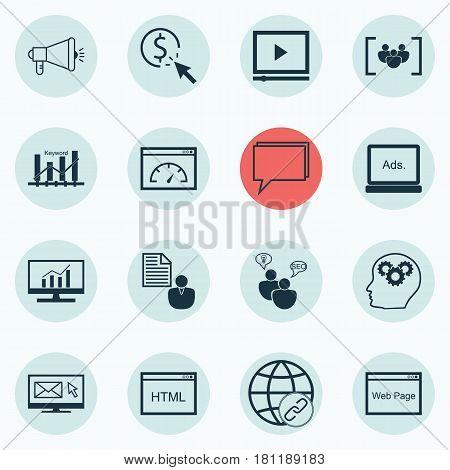 Set Of 16 SEO Icons. Includes Connectivity, Digital Media, Keyword Optimisation And Other Symbols. Beautiful Design Elements.