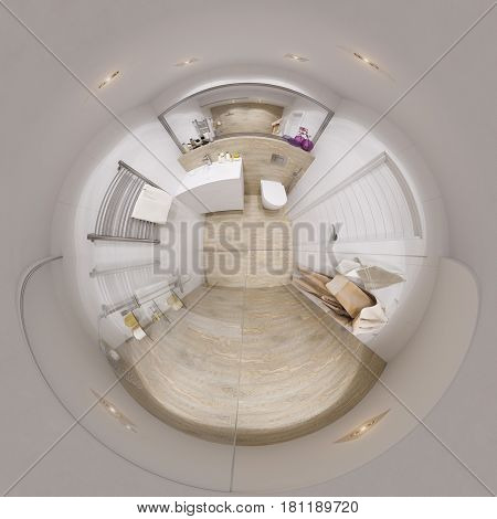 3d illustration spherical 360 degrees, seamless panorama of bathroom interior design with a tile woodgrain.