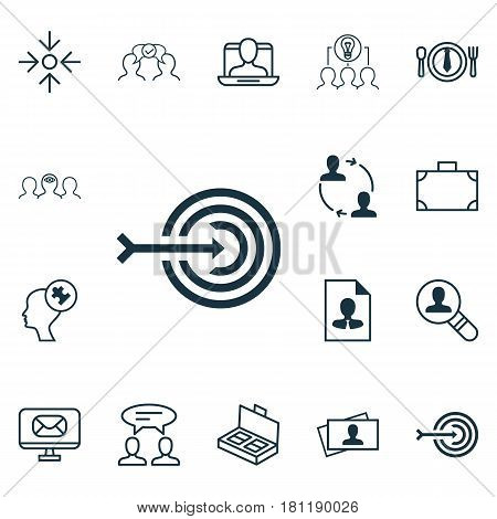 Set Of 16 Business Management Icons. Includes Collaborative Solution, Document Suitcase, Coaching And Other Symbols. Beautiful Design Elements.