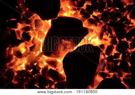 The background of the burning coal is a fine fraction and laid down obliquely large.