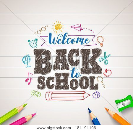 Back to school vector drawing in white paper with colorful crayons, coloring pens and elements. Vector illustration banner.
