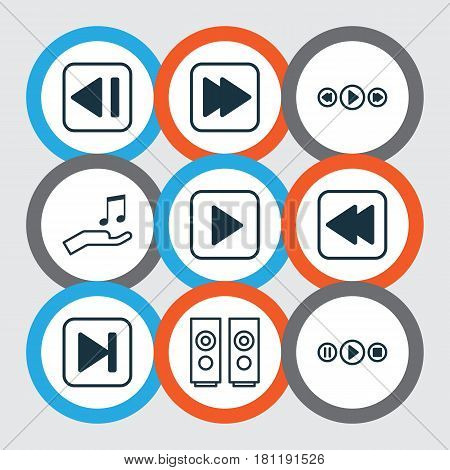 Set Of 9 Multimedia Icons. Includes Last Song, Song UI, Note Donate And Other Symbols. Beautiful Design Elements.