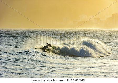 Surfer in the wave at sunset in Arpoador beach Ipanema Rio de Janeiro