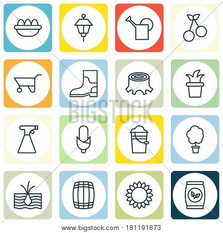 Set Of 16 Farm Icons. Includes Cask, Bailer, Bush Pot And Other Symbols. Beautiful Design Elements.