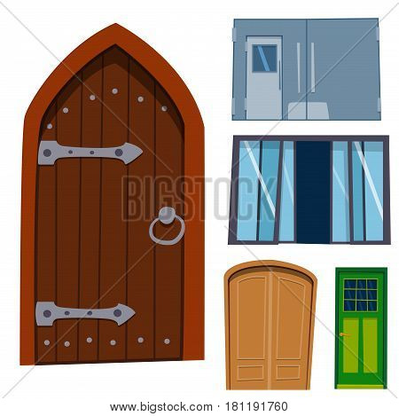 Color door front to house and building flat design style isolated vector illustration modern new decoration open elegant room lock. Entrance doorway metal empty construction blank.