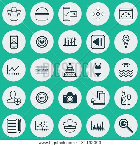 Set Of 25 Universal Editable Icons. Can Be Used For Web, Mobile And App Design. Includes Elements Such As Keyword Optimisation, Focus Group, Business Aim And More.