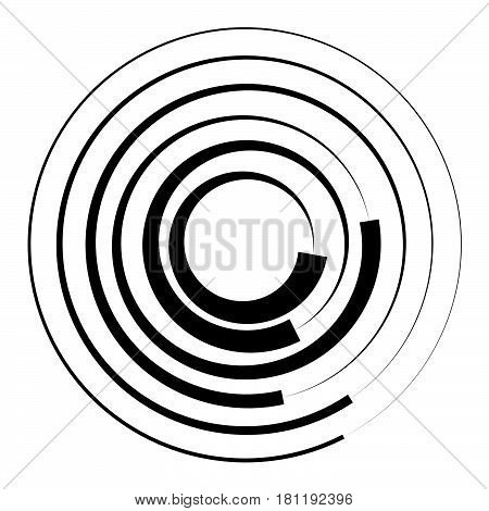 Concentric Circles Geometric Element. Radial, Radiating Circular Graphic.