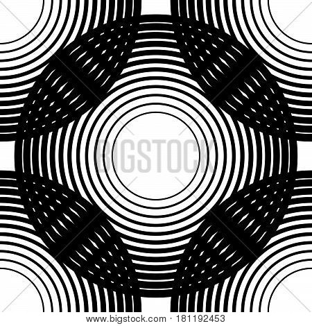 Circles Seamless Pattern. Background With Grid, Mesh Of Intersecting Circles. Black White Abstract R