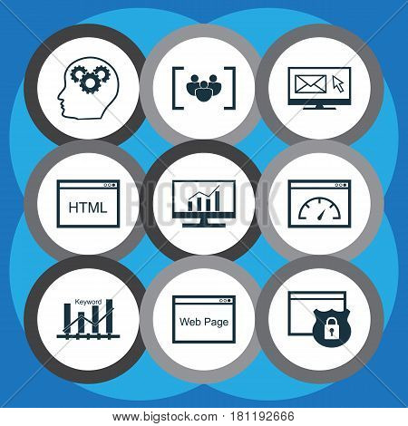 Set Of 9 SEO Icons. Includes Questionnaire, Loading Speed, Coding And Other Symbols. Beautiful Design Elements.