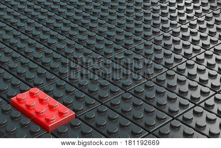 One red plastic brick toy on background made of black plastic bricks 3D render illustration
